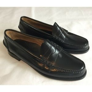 LL Bean Men's 13D Black Leather Classic Loafers